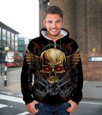 3D Golden Skull Unisex Zip Up Hoodie 013