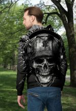 3D Black&White Skull and Sword Unisex Zip up Hoodie 003