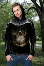 3D Skull Death Unisex Zip up Hoodie 002