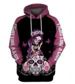 Pink Sugar Skull Girl Breast Cancer Awarenes Zipup/ Pullover Hoodie T-shirt Sweatshirt