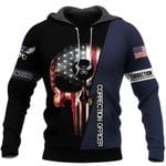 US Correction Officer Skull Unisex US Size Hoodie Zipup Longsleeve T-shirt
