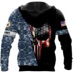US Armed Force Skull US Unisex Size Zipup Hoodie
