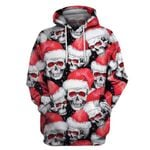 Multiple Skull Christmas Hoodie T-shirt Longsleeve US Unisex size