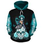 Teal Ovariant F L A G Skull Pullover/ Zipup Hoodie, Long Sleeve Shirt and Tshirt