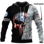 Personalized US Air force Skull US Unisex Size Hoodie
