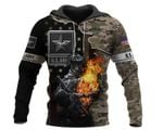 Personalized US Army Skull Fire Unisex Hoodie HG