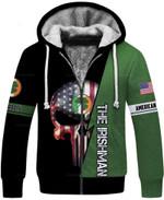 Irish Skull Fleece Zip Up Hoodie Long Coat Unisex Size