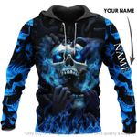 Blue Eyes Screaming Skull Multi Types Personalized Pullover Zipup Hoodie Long Sleeve Shirt Long Coat Unisex Size BS
