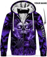 Personalized Purple Eyes Screaming Skull Unisex Fleece Zip Up Hoodie