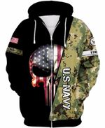 US Navy Type 3 Skull US Unisex Size Zipup Hoodie