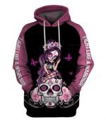 Pink Fight Like A Warrior� Breast Cancer Awareness Sugar Skull Girl Unisex Zipup/ Pullover Hoodie T-shirt Sweatshirt