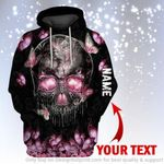 Skull Head With Pink Butterflies Personalized Unisex Hoodie LN