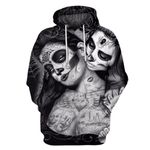 Skull Couple 3D Printed Pullover Hoodie 13