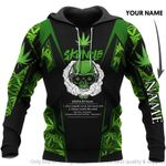 Skuncle Skull With Green Pot Leaf Personalized Unisex Hoodie HG
