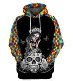Autism Sugar Skull Girl Awareness Kid and Adult hoodie