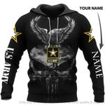 US Army Skull Eagle Personalized Unisex Hoodie HG