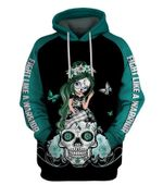 Fight Like A Warrior� White Teal Cervical Cancer Sugar Skull Girl Awareness Hoodie