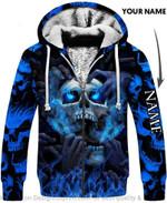 Multicolor Eyes Screaming Skull Personalized Unisex Fleece Zip Up Hoodie
