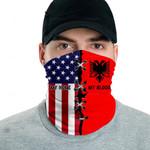 3D Neck Gaiter Men & Women 'Albania By Blood, American By Birth' Nuzoria-X1