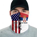 3D Neck Gaiter Men & Women 'Serbia By Blood, American By Birth' Nuzoria-X1