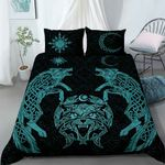 Wolf Vikings bedding set blue light Color - Limited edition