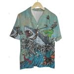 3D Hawaiian Shirt Colorful Animals - Shark