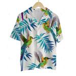 3D Hawaiian Shirt Colorful Animals - Humming Bird (White)