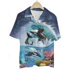 3D Hawaiian Shirt Colorful Animals - Dolphin (Sky Night)