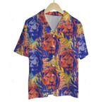3D Hawaiian Shirt Colorful Animals - Lion