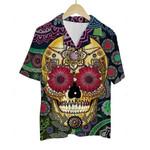 3D Hawaiian Shirt Colorful Skulls (Yellow)
