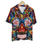 3D Hawaiian Shirt Colorful Skulls (Orange)
