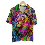 3D Hawaiian Shirt Colorful Animals - Lion Face