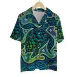 3D Hawaiian Shirt Colorful Animals - Turtle (Blue)