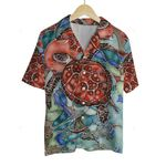 3D Hawaiian Shirt Colorful Animals - Turtle (Red)