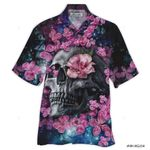3D Hawaiian Shirt Colorful Skull With Roses (Pink)