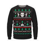 Fright Rags Release New Friday the 13th. Christmas Designs, Including Crystal Lake Christmas Sweater 3D Sweatshirt