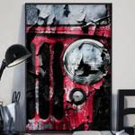 Maroon Jeep Wrangler Poster Print Wall Art Poster