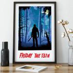 Friday the 13th Art, horror movie art, horror film poster, scary movie artwork, minimalist, retro print, Halloween art Poster