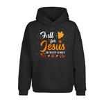 Fall for Jesus, He never leaves, Halloween Thanksgiving Christmas Shirt, Most wonderful of the year, hallothanksmas season 2D Hoodie