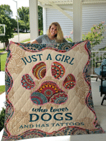 Just A Girl Who Loves Dog And Has Tattoos for Dogs Lovers Blankets / Quilts / Shower Curtains