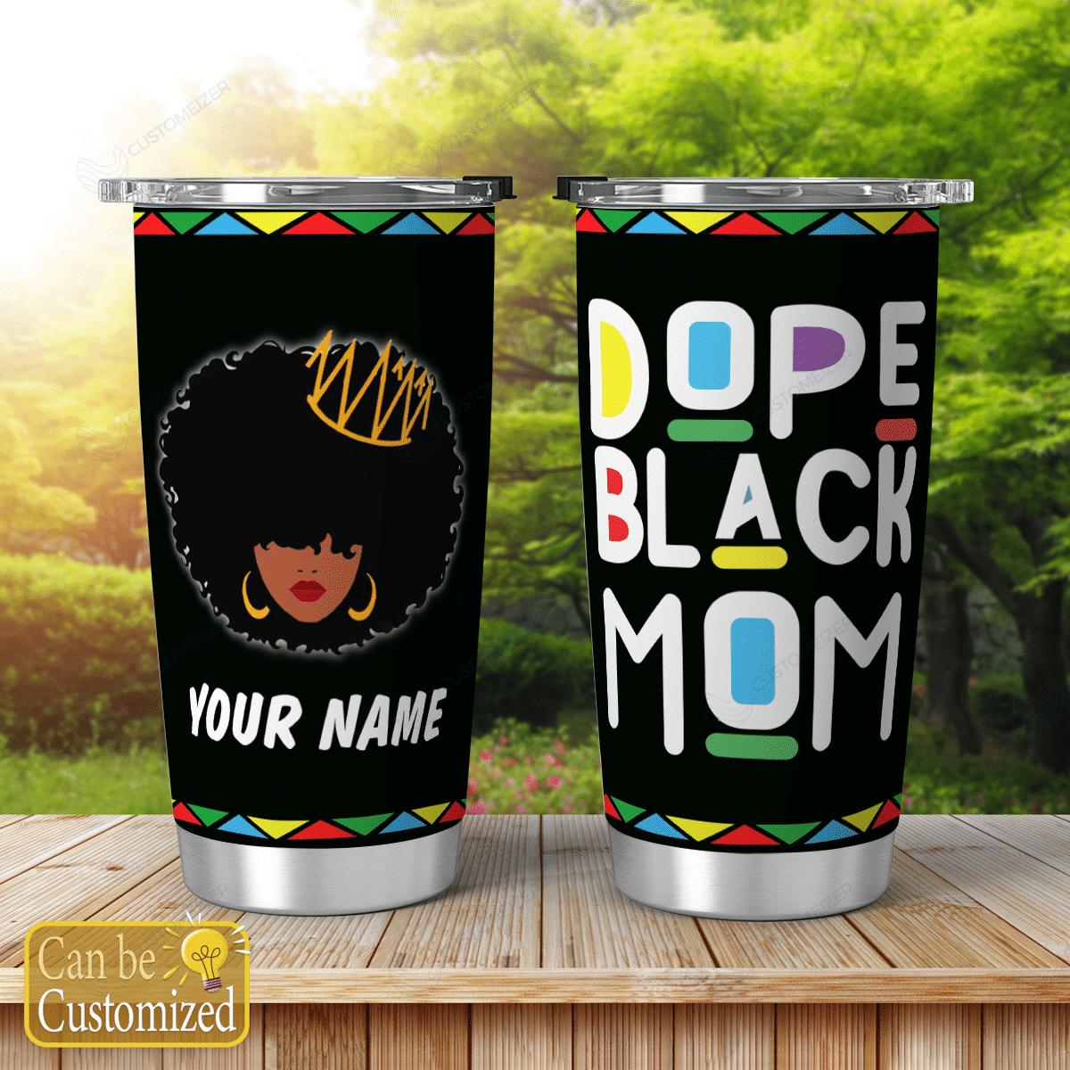 Personalized Afro Mom Shining Tumblers