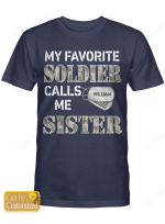 Personalized Soldier Sister Shirts Hoodies Cups Mugs Hand Bags Totes