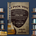 I Pick You Guitars Guitarists Musicians Couples Husband Wife Canvas Posters