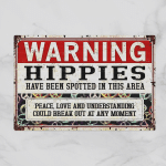Warning Hippies - Peace, Love And Understanding (Canvases, Pictures, Puzzles, Posters, Quilts, Blankets, Flags, Door Mats)