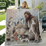 Jesus And Husky Dogs (Jesus - Christs - Christians, Canvases, Pictures, Puzzles, Posters, Quilts, Blankets)