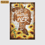 Jesus Sunflower - God Is Within Her (Christs - Christians, Canvases, Posters, Pictures, Puzzles, Quilts, Blankets, Shower Curtains, Flags, Bath Mats, Led Lamp, Stickers)