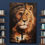 Jesus And Lion (Christs - Christians, Canvases, Posters, Pictures, Puzzles, Quilts, Blankets, Shower Curtains, Flags, Bath Mats, Led Lamp, Stickers)