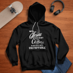 With Jesus In Her Heart And Coffee (Christ - God - Christians Shirts, Hoodies, Cups, Mugs, Totes, Handbags)