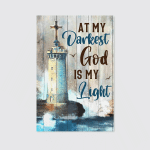At My Darkness God Is My Light (Jesus - Christ - Christians, Canvases, Pictures, Puzzles, Quilts, Blankets, Shower Curtains, Led Lamp, Stickers)