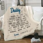 Personalzied Custom Name Gifts For Dad  Daddy I Hugged This Blanket Love Blanket